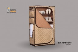 hometex cream shelf wardrobe filled with clothes