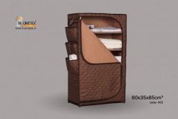 hometex dark brown shelf wardrobe filled with clothes